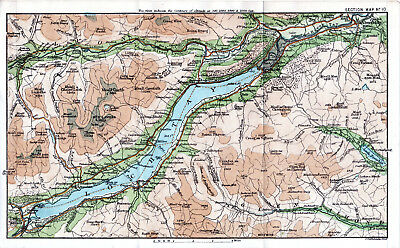 Scotland Aberfeldy Killin Kenmore 1887 small orig. map + guide (3 p.) Ardeonaig