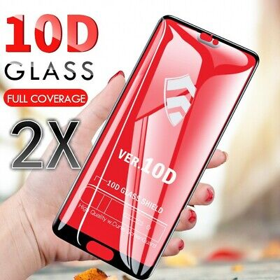 2PCS 10D Full Cover Tempered Glass Screen Protector For iPhone X XS Max XR 11 8+