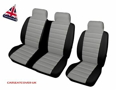 PEUGEOT EXPERT 2007 ON QUILTED GREY PATCH VAN SEAT COVERS DOUBLE SINGLE