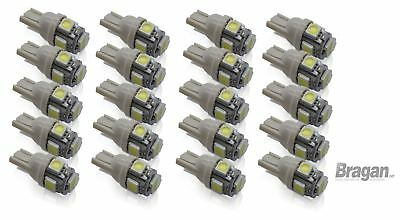 20x 12v/24v T10 W5W 501 Capless Wedge 5 SMD 5050 LED White Side Park Light Bulbs