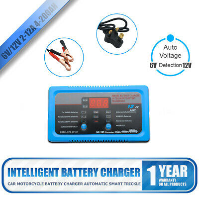 6V/12v 2A 8A 12A Electronic Smart Car Battery Fast Trickle Charger AGM WET ACID