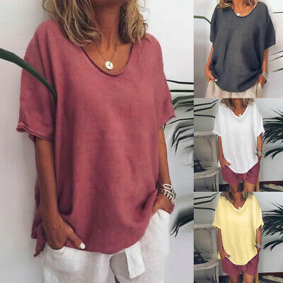 Women Casual Summer Solid O-Neck Short Sleeve Linen Plus Size Top T-Shirt Blouse