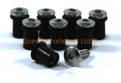 8x Stainless Steel Screen Bolts & Rubber Well Nut Kit Triumph T3330646 T3350050