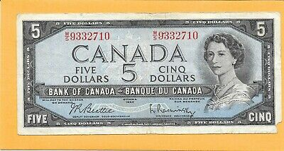 1954 Canadian 5 Dollar Bill M/S9332710 (Circulated)