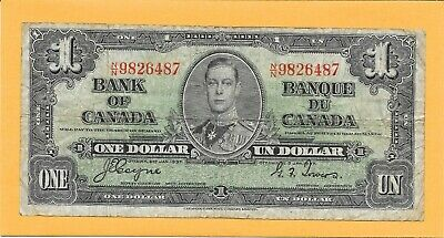 1937 Canadian 1 Dollar Bill N/N9826487 (Circulated)