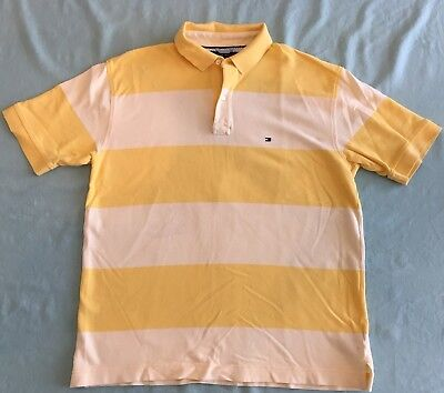 1f997533 Tommy Hilfiger Men's Polo Shirt Yellow/White Short Sleeve Striped Sz L