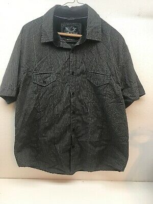 912e8290 Drill Clothing Company NYC Mens Black Gray Striped Button Up Shirt Size XL