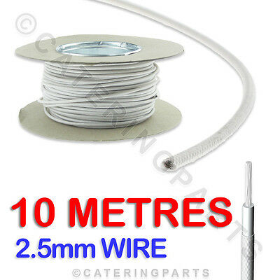10 METRES x 2.5mm HEAT RESISTANT HIGH TEMPERATURE GLASS FIBRE CABLE WIRE 10m