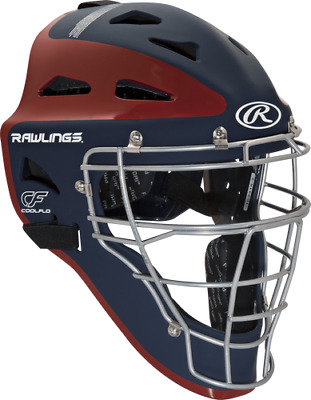New Rawlings Velo Youth Baseball Catcher Helmet Mask CHVELY Navy Red Fastpitch