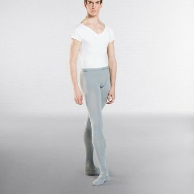 Wear Moi Solo Mens Footed Ballet Dance Tights Grey Black