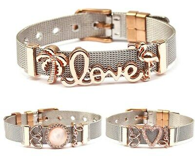 Stainless Steel Women Bracelet Keeper Mesh Charms Bracelet With Charms And Beads