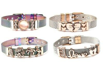 Stainless Steel Women Bracelet Keeper Mesh Charms Bracelet With Charms  LOVE