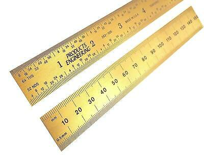 "PEC Tools Rigid 6"" 150mm Titanium Nitride Coated Machinist Engineer Ruler"