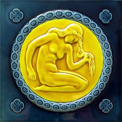 Art Nouveau Vintage Ceramic Tile Azulejo German Trivet Majolica Reproduction