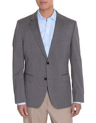 Mens 42L Hugo Boss The Grand_1 Gray Pinstriped Two Button Wool Blazer Sportcoat