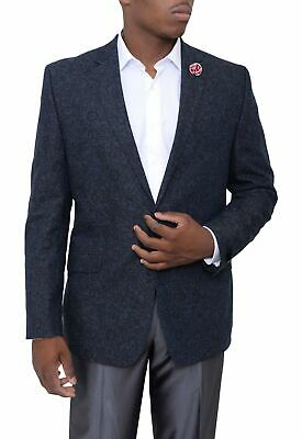 Mens 40R Kenneth Cole NY Slim Fit Navy Blue Floral Two Button Linen Blazer Sp...