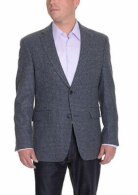 Mens 40S Tommy Hilfiger Gray Blue Houndstooth Two Button Wool Blazer Sportcoat