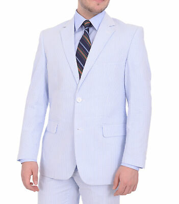 Emigre Classic Fit Blue Or Pink Pinstriped Two Button Cotton Seersucker Suit