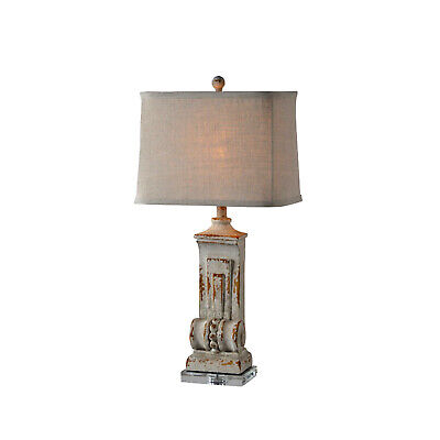 Side or End Table Lamp with Lucite Base and Corbel Style Body in Chipped Finish