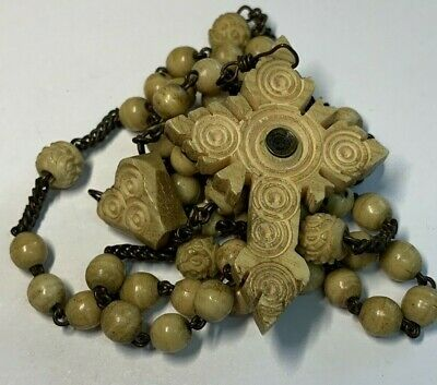 "† Antique Stanhope Viewer  ""St Joseph"" Die A Happy Death Carved Bovine Rosary †"