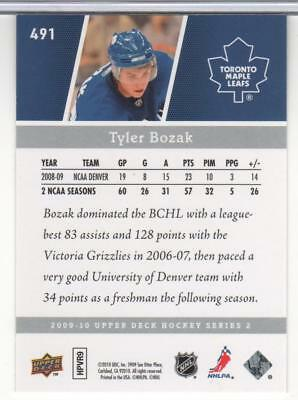 Tyler Bozak 2009-10 Upper Deck Young Guns # 491 Rookie Toronto Maple Leafs Mint