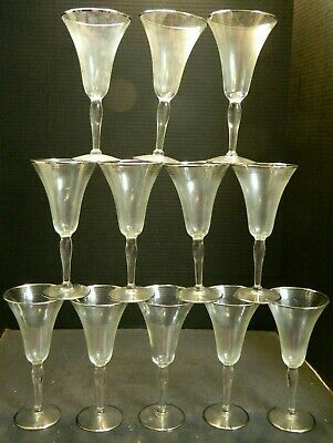 "Vintage Set of (12) Sterling Silver Ringed Overlay Wine Glasses 7.75"" x 4"" Excel"