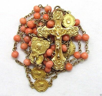 † Antique18K Yellow Gold Wash Hallmarked Sterling Natural Coral Rosary Necklace†