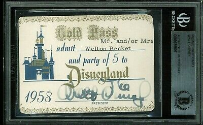 Walt Disney Authentic Signed 1958 Disneyland Gold Pass Membership Card BAS