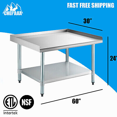 """Commercial kitchen equipment work stand 30""""D x 60""""W x 24""""H stainless steel NSF"""