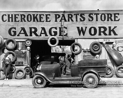 Vintage 1936 Garage Photo Automobile Parts Store Old Work Truck Atlanta Georgia