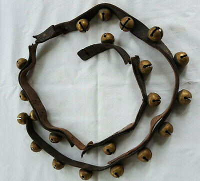 Antique Brass Sleigh Bells Pat. 1876 Lot of 21 Bells Original Leather