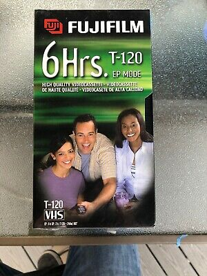 NEW Blank VHS 5 pack of FUJIFILM T-120 VHS Tape 6 Hours High Quality New Sealed