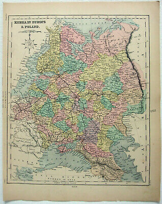 Original 1878 Map of Russia in Europe by William Hughes. Poland Finland Antique