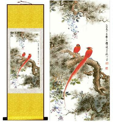 Two Red Parrots Asian Chinese Japanese Canvas Scroll Hanging Wall Art