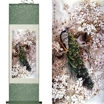 Auspicious Peacock Asian Chinese Japanese Canvas Scroll Hanging Wall Art