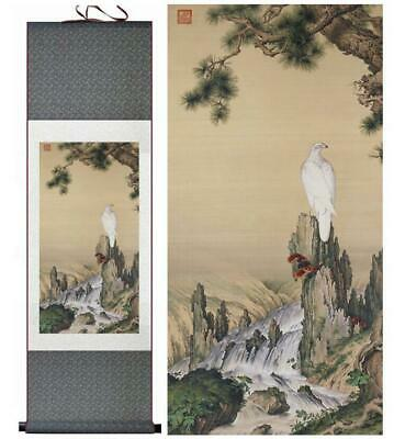 Crane and Waterfalls Asian Chinese Japanese Canvas Scroll Hanging Wall Art