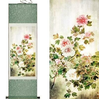 Peony Flowers Asian Chinese Japanese Canvas Scroll Hanging Wall Art