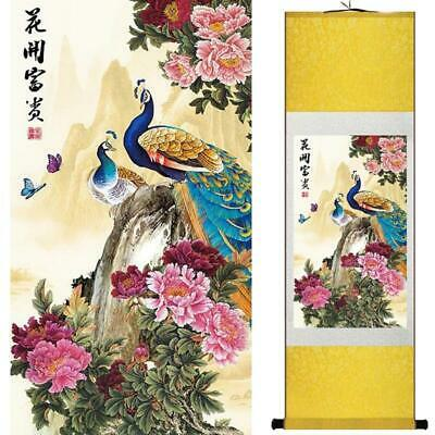 Peacocks Among Flowers Asian Chinese Japanese Canvas Scroll Hanging Wall Art