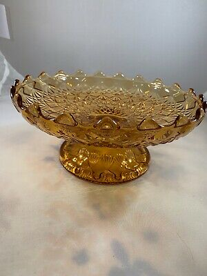 Vtg Amber Depression Glass Fruit Berry Candy Footed Bowl With Scalloped Rim 8""