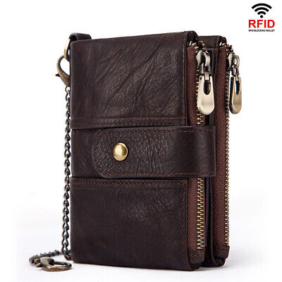 Men's RFID Blocking Wallet Genuine Leather Purse Bifold Credit Card Coins Holder