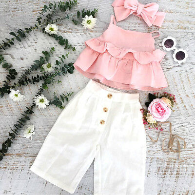 AU Toddler Kids Baby Girl Ruffle Sling Tops Long Pants Headband Outfits Sunsuit