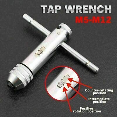 M5-M12 Reversible T Bar Handle Ratchet Tap Wrench Holder For Tap And Die Set