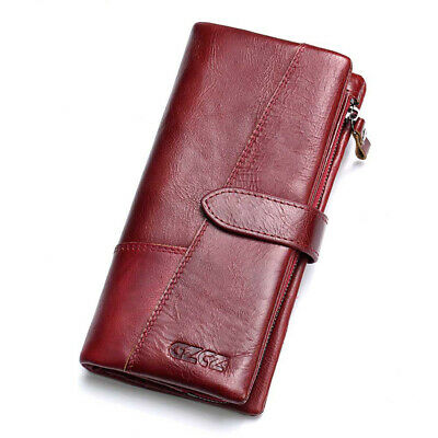 Women/Men's Wallet Genuine Leather Long Purse Trifold Credit Card Coins Holder