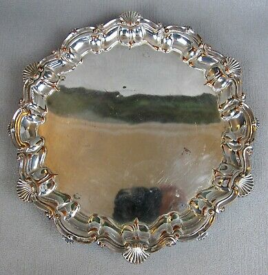"""Vintage silver plated round 3 footed DRINKS / DECANTER / SERVING TRAY. 10.5"""""""