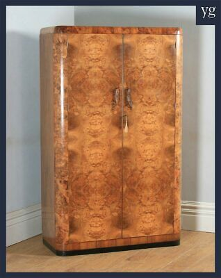 Antique English Art Deco Burr Walnut 2 Two Door Armoire Wardrobe Cupboard c.1930