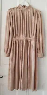 Vintage 1970s 'Prue Acton' long sleeve nude pleated dress size 10