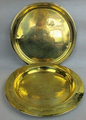 """2 x vintage brass round serving TRAYS / PLATES / PLATTERS / CHARGERS. 12"""""""