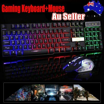 Wired Gaming PC Computer USB LED Backlit Light Up Illuminated Keyboard + Mouse