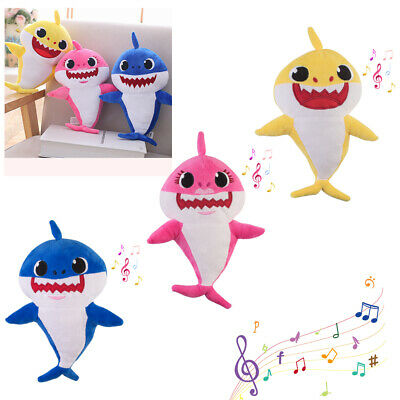 Shine Baby Shark Plush Singing Plush Toys Music Doll English Song Toy Gift US