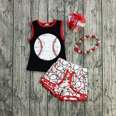 US Toddler Kids Baby Girl Boy Baseball Tops T-Shirt Shorts Outfit Clothes Summer
